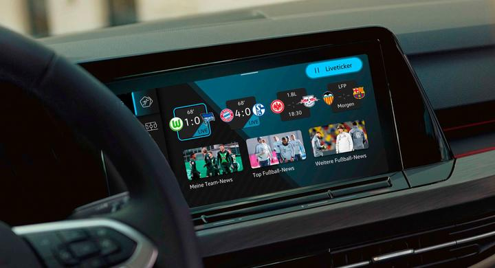 In the new Volkswagen Golf, drivers can check live football scores