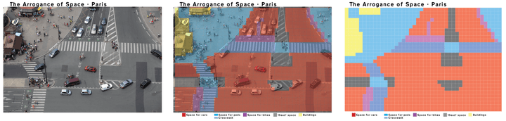Space for pedestrians (blue) vs cars (red) in front of the Eiffel Tower