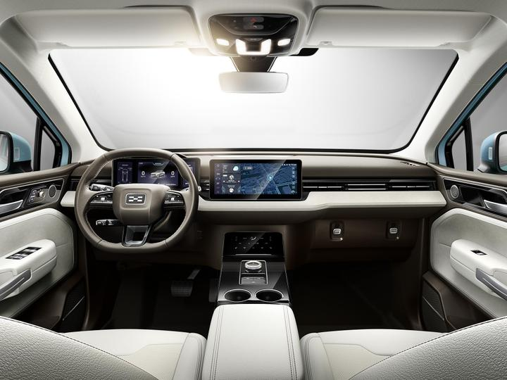 The interior of the Aiways E5, an electric crossover SUV that will also be available in Europe