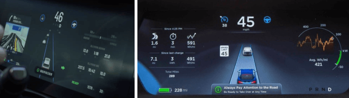 The cluster screen of the Li Xiang One (left) compared to the Tesla Model S (right)