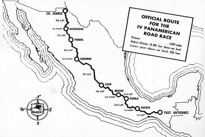 The route of the 1953 Carrera Panamericana