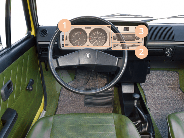 The interior of the first generation Volkswagen Golf