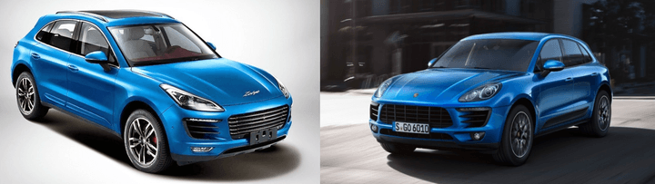 The Chinese Zotye SR8 compared to the Porsche Macan